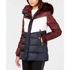 Vince Camuto Faux-Fur-Trim Colorblocked Coat